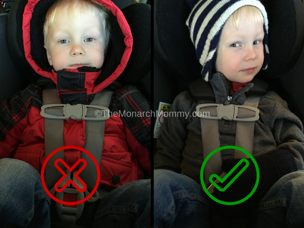 Toddler jacket in car seat